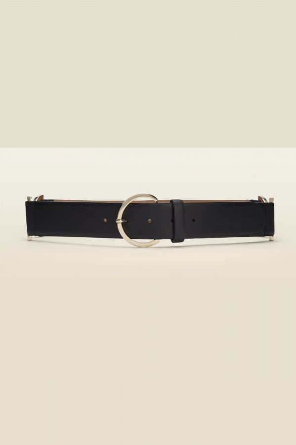 Black Leather Waist Belt With Gold Side Trims