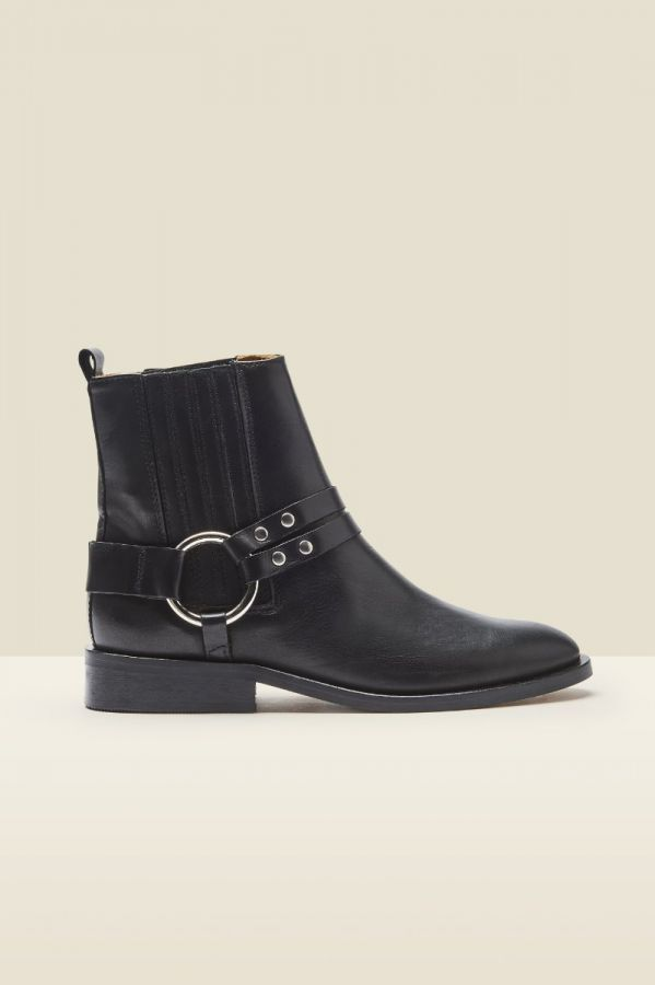 Ash Black Leather Buckle Harness Ankle Boot