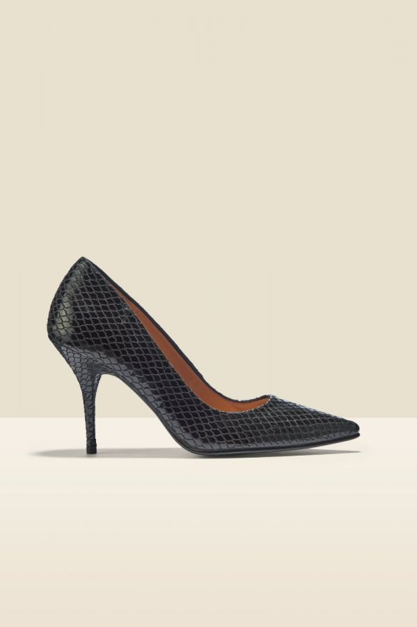 Claudia Black Glossy Snake Leather Court Shoe
