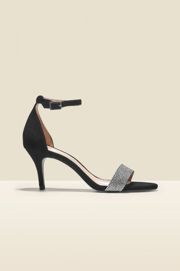 Mia Black Suede Jewel Detail Sandal