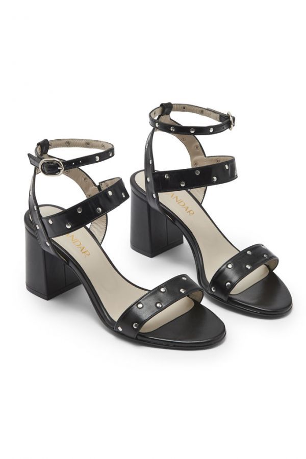 Black Studded Block Heel Sandal
