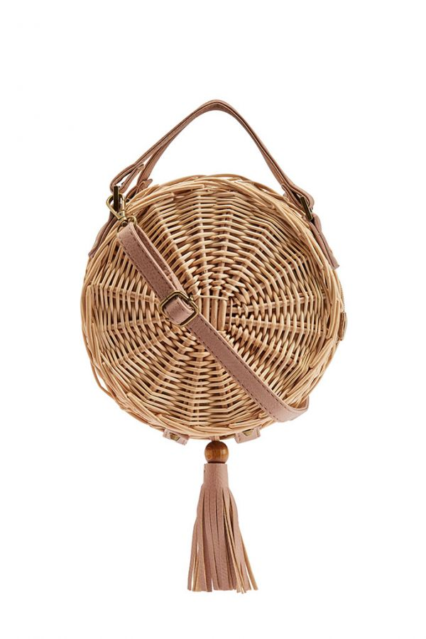 Round Woven Cross Body Basket Bag