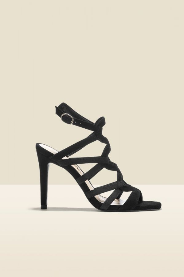 Neptune Black Suede Strappy Sandal