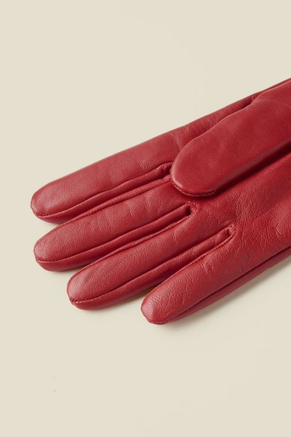 Red Luxe Leather Gloves