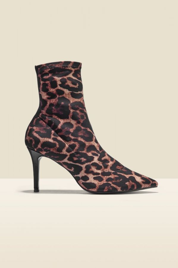 Ava Leopard Lycra Stretch Sock Boot