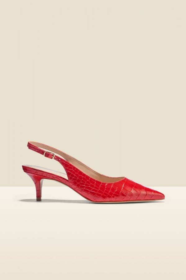 Gigi Red Croc Leather Court Shoe