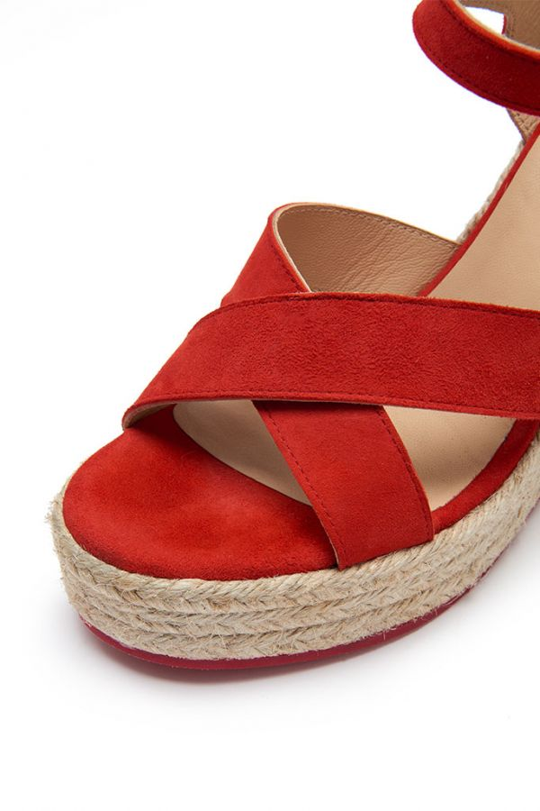 Red Havana Suede Espadrille Wedges
