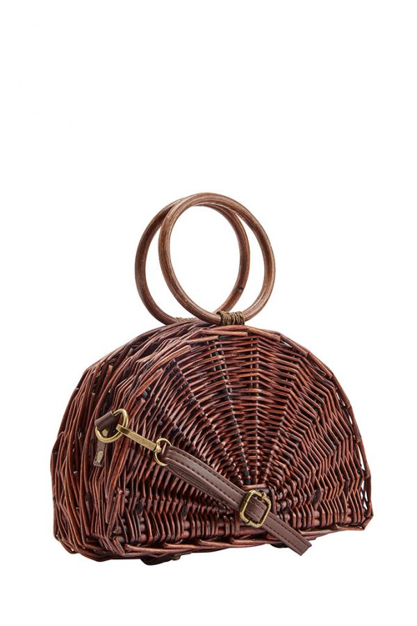 Oak Half Moon Woven Basket Bag