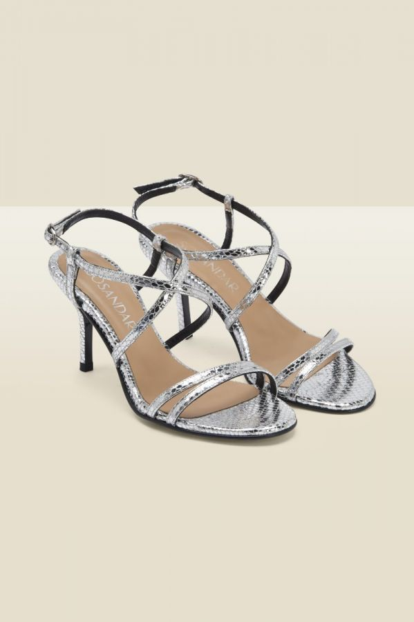 Millie Silver Snake Leather Strappy Sandal