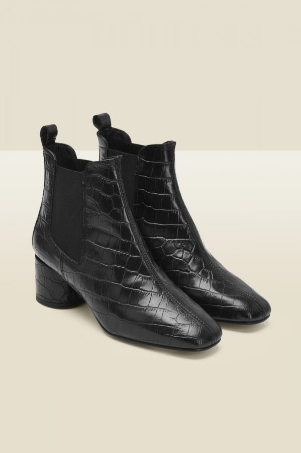 Antwerp Black Croc Leather Chelsea Boot