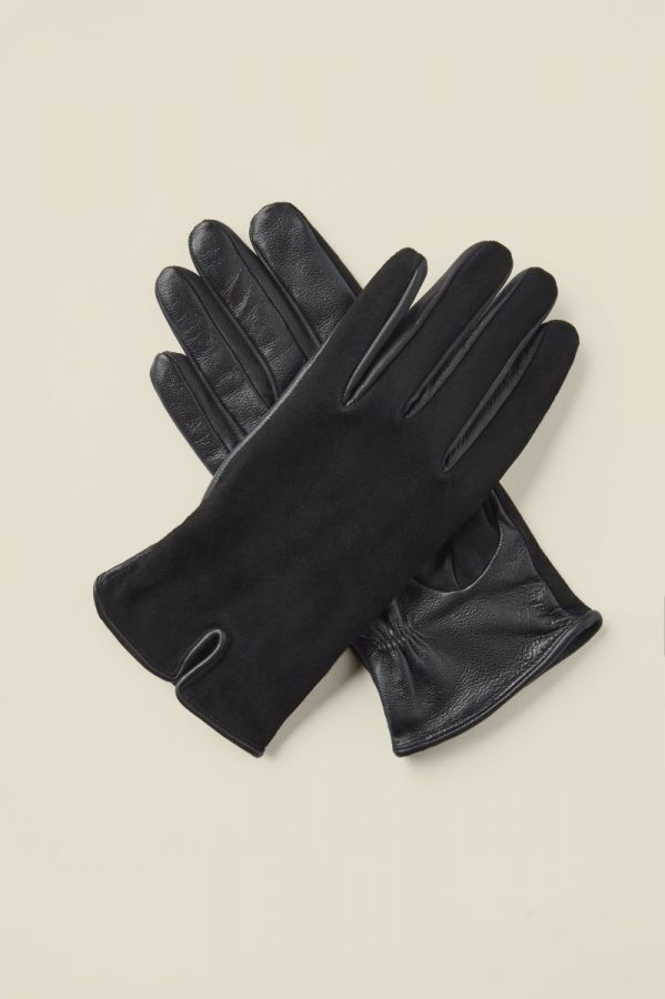 Black Suede Leather Mix Gloves