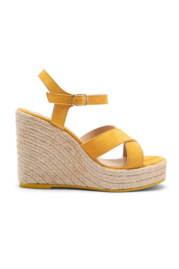 Yellow Havana Suede Espadrille Wedges
