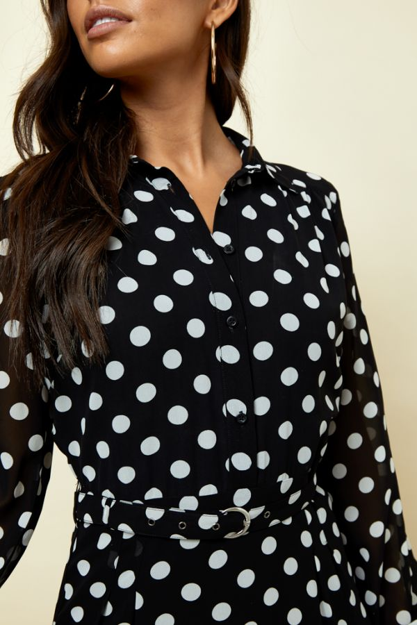 Black & White Spot Print Shirt Dress