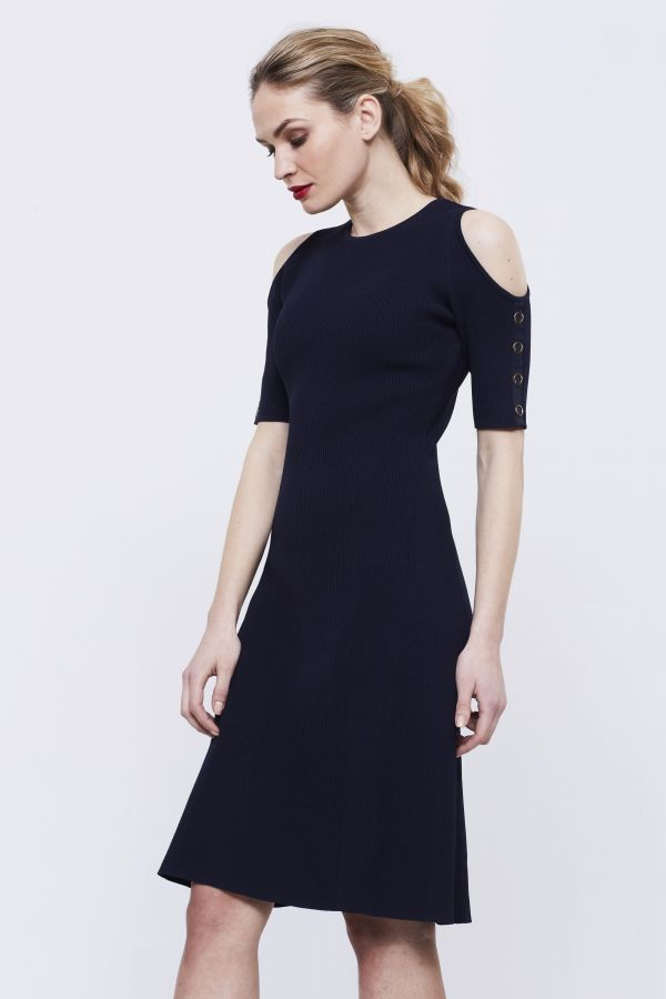 Navy Fit & Flare Jumper Dress