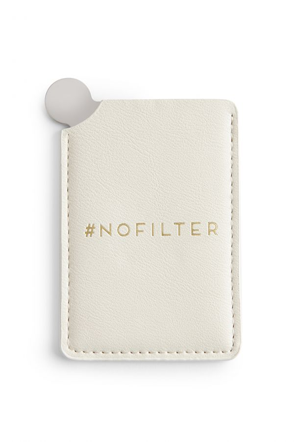 Ivory Vegan Leather Compact Mirror