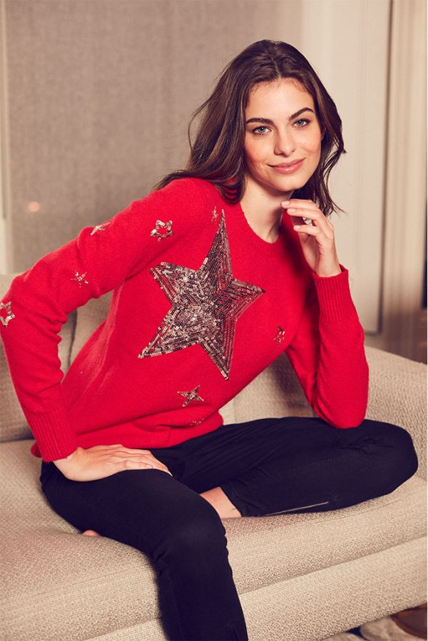 Red & Silver Sequin Star Jumper