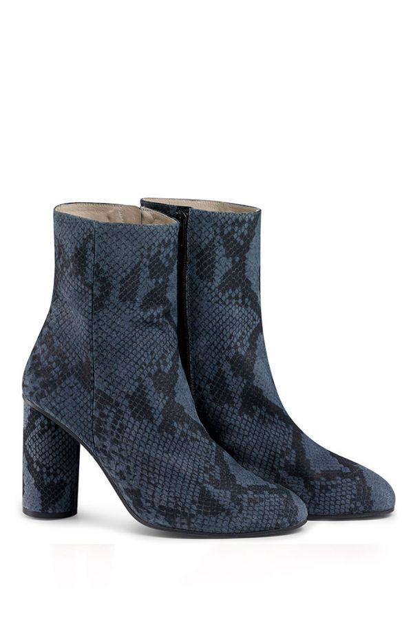 Steel Blue Leather Snake Print Ankle Boot