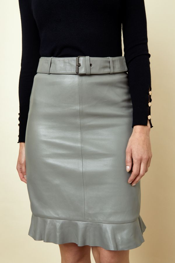 Taupe Leather Ruffle Hem Skirt