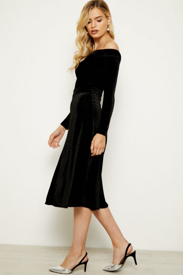 Black Textured Velvet Bardot Midi Dress