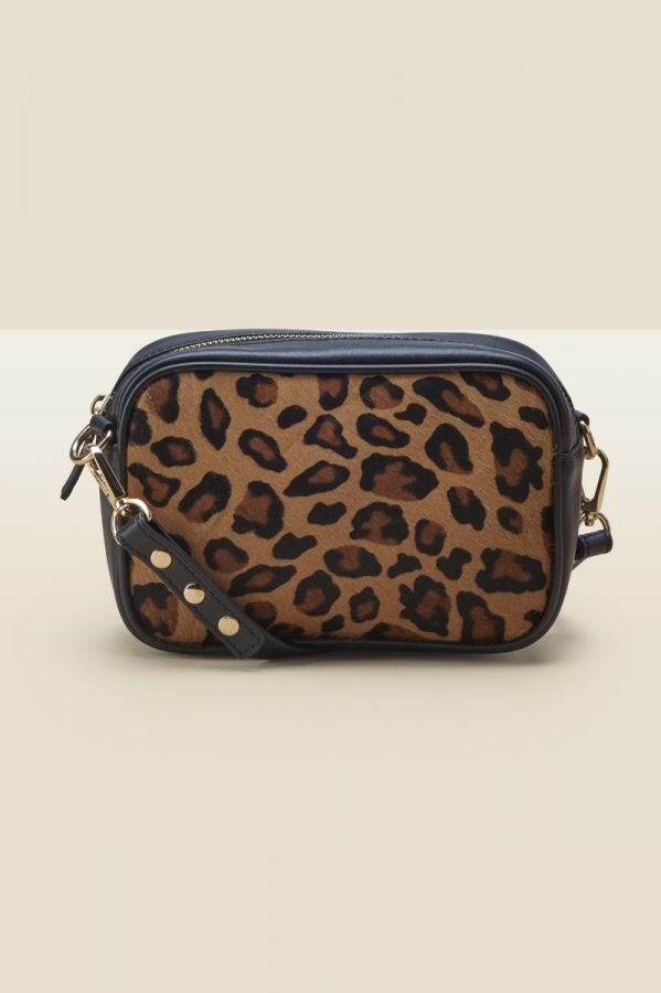 Leopard Pony Black Leather Cross Body Bag