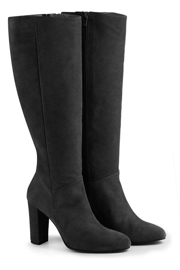 Black Suede Knee High Boot
