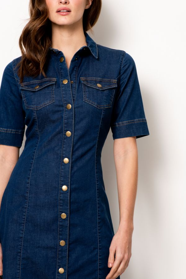 Indigo Blue Popper Front Denim Dress