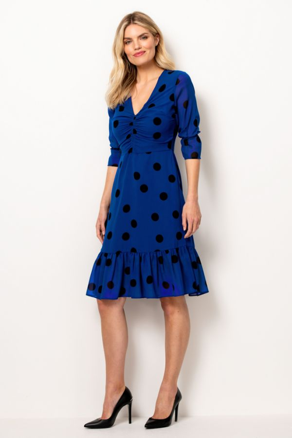 Blue & Black Spot Fit & Flare Dress