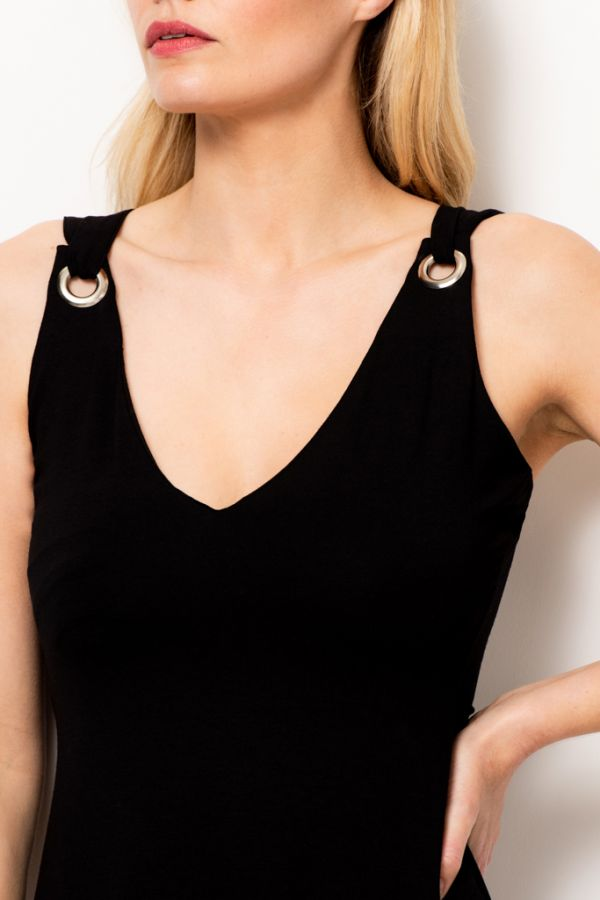 Black Double Strap Eyelet Detail Dress
