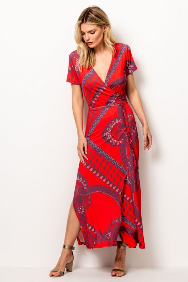 Red Scarf Print Wrap Maxi Dress