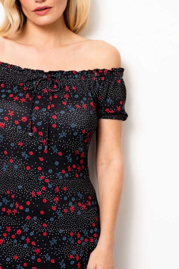 Black Floral Print Bardot Dress