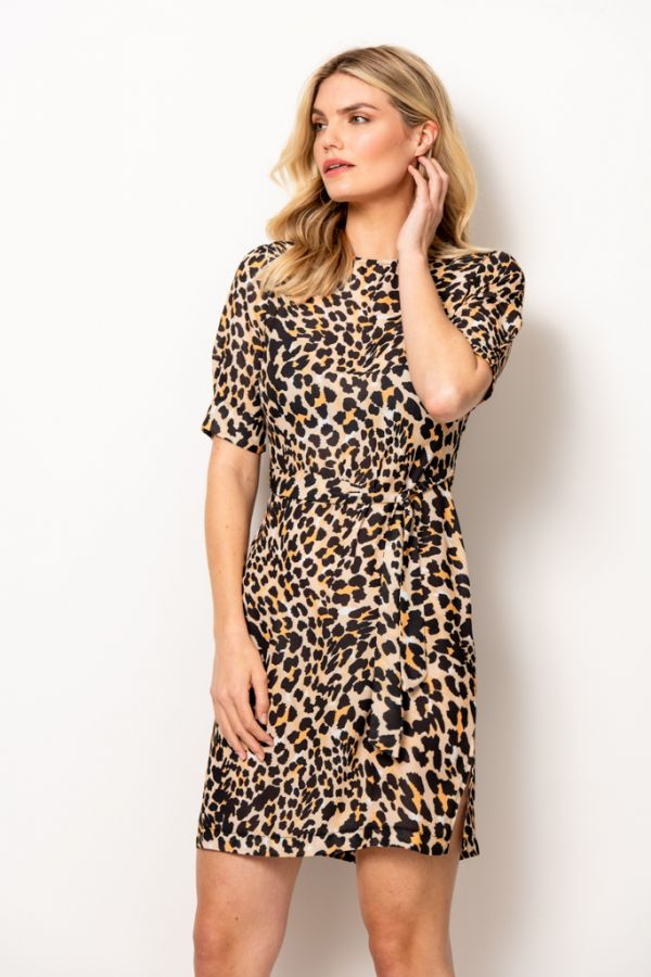 Leopard Print Tie Waist Shift Dress