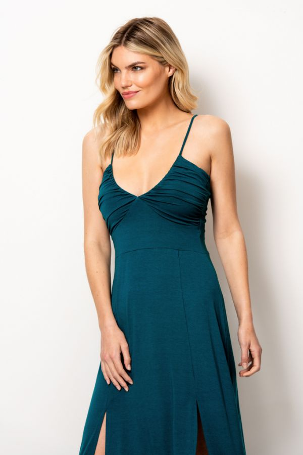 Jade Green Split Detail Maxi Dress