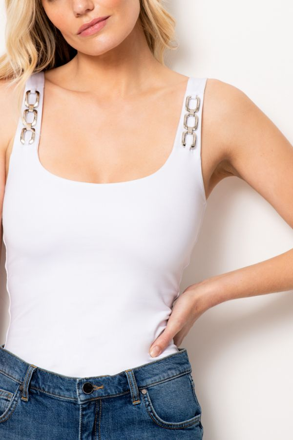 White Silver Chain Detail Vest Top