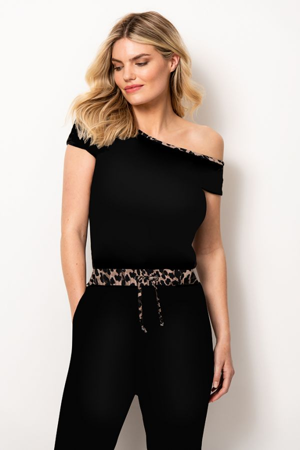 Black Leopard Trim Off The Shoulder Jumpsuit