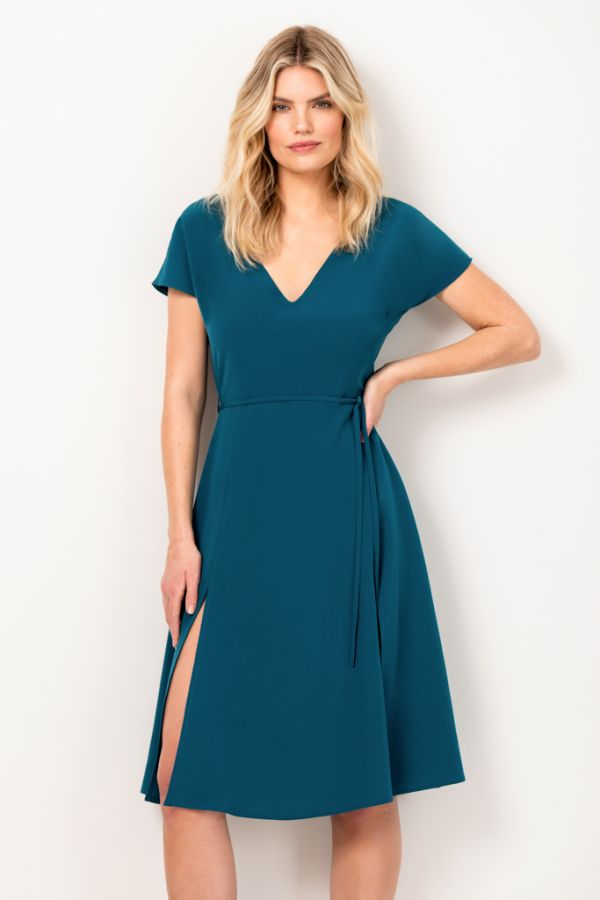 Teal Green Split Detail Fit & Flare Dress