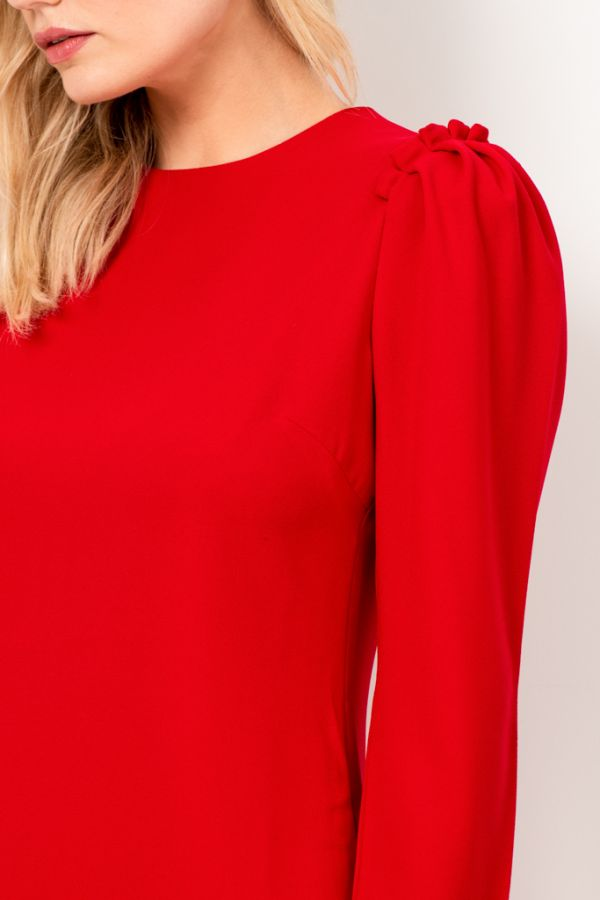 Red Ruffle Shoulder Detail Shift Dress