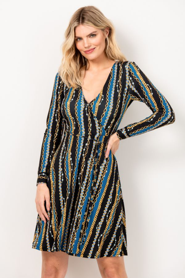 Black & Blue Chain Print Faux Wrap Slinky Dress