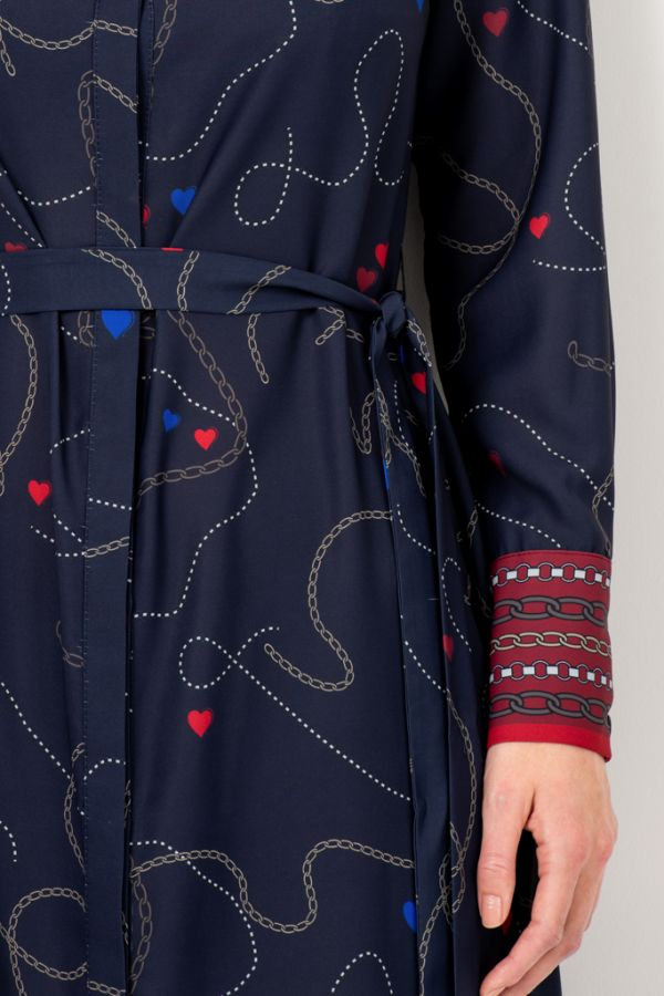 Navy Blue Chain & Charm Print Shirt Dress