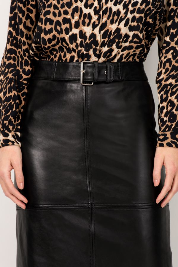 Black Leather Buckle Detail Pencil Skirt