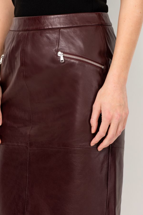 Burgundy Leather Zip Pocket Pencil Skirt
