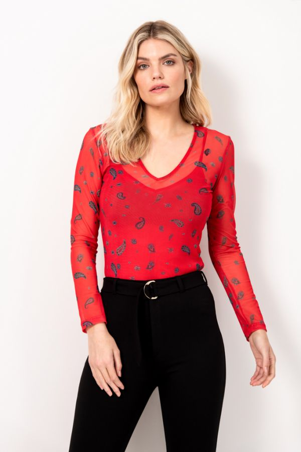 Red Paisley Print Mesh Top