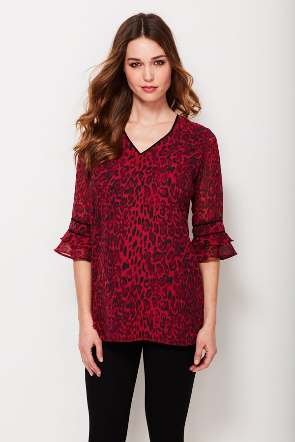 Red Leopard Print Flute Sleeve Top