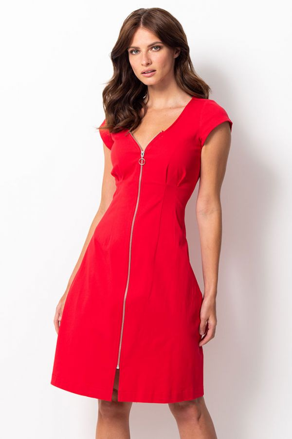Red Zip Front Detail Cap Sleeve Dress