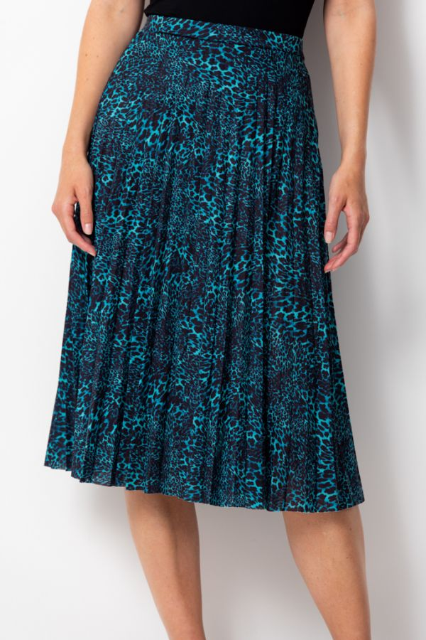 Dark Aqua Animal Print Pleated Skirt
