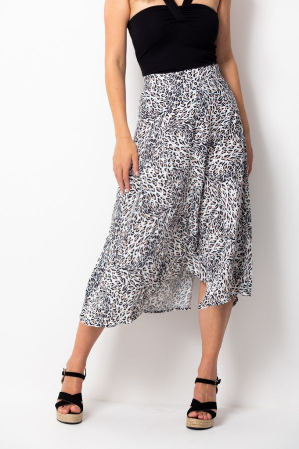 White Leopard Print Split Hem Detail  Skirt