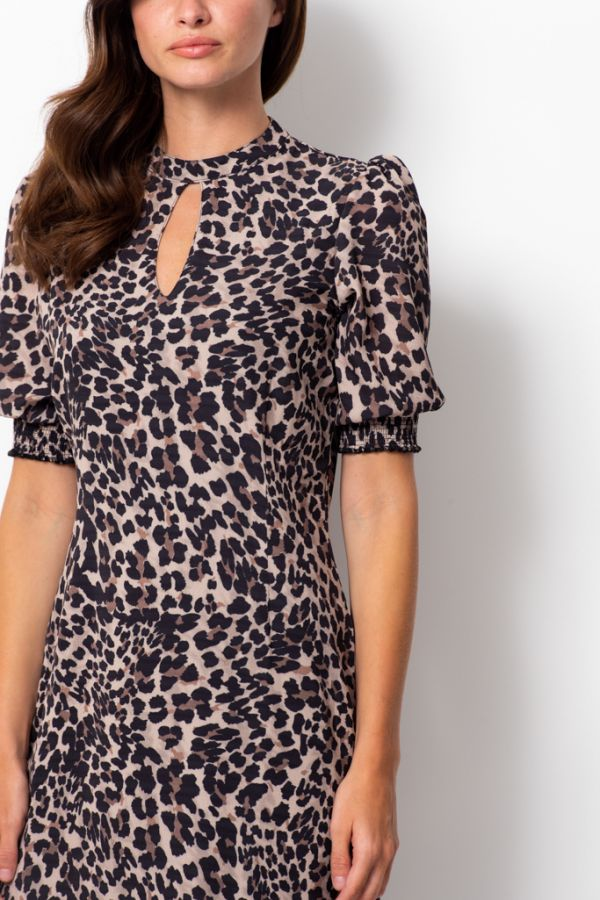 Leopard Print Ruched Sleeve Shift Dress
