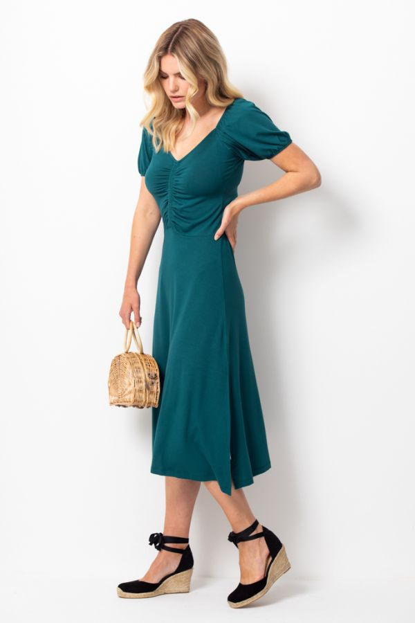 Jade Green Ruched Front Midi Dress