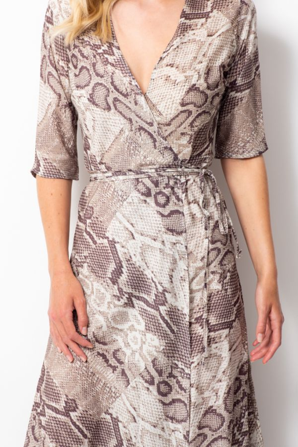 Coffee & Cream Animal Print Midi Wrap Dress