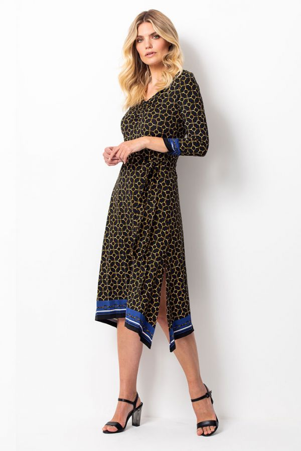 Black & Gold Chain Print Slinky Midi Dress