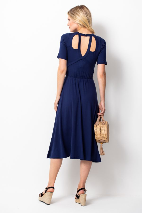 Navy Cut Out Back Detail Midi Dress